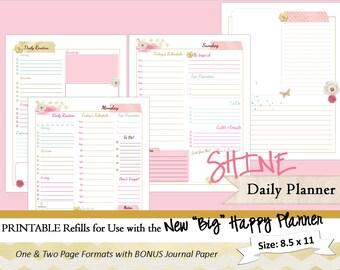 big happy planner printable weekly planner inserts refills etsy