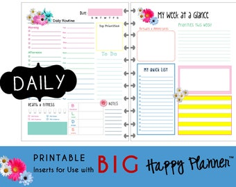 "HAPPY PLANNER Daily Planner Inserts / Refills Printable - pdf - BIG 8.5 x 11  mambi | Create365 | me & my Big Ideas ""Hello Brights"""