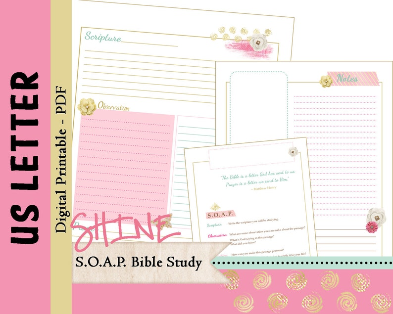 graphic regarding Soap Bible Study Printable known as US LETTER S.O.A.P. Bible Research Printable Planner Magazine Refills / Inserts - PDF - 8.5 x 11 \