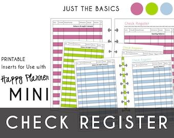 Mini Happy Planner CHECK REGISTERS  Just the Basics: Raspberry Lime Blue    Create365 | mambi | Me & My Big Ideas  Printable PDF