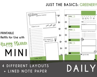 MINI Happy Planner DAILY Insert Printable  Create365 | mambi | Me & My Big Ideas - PDF Just the Basics: Greenery