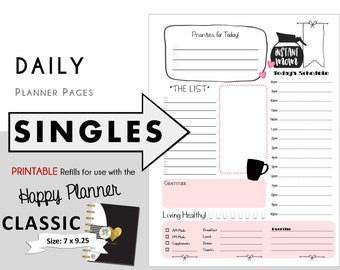 "CLASSIC Happy Planner DAILY Insert Printable Singles  Create365 | mambi | Me & My Big Ideas - PDF ""Instant Mom"""