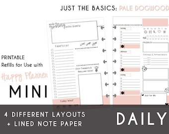 MINI Happy Planner DAILY Insert Printable  Create365 | mambi | Me & My Big Ideas - PDF Just the Basics: Pale Dogwood