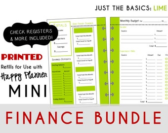 MINI Happy Planner FINANCE Bundle  Check Register, Monthly Budget, Debt Payoff Tracker, Debtor Contacts Passwords [PRINTED]  Lime