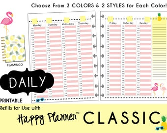"HAPPY PLANNER Weekly Planner Inserts - Hourly Schedule Layout - Classic 7 x 9.25   mambi | Create365 | me & my Big Ideas ""Flamingo"" PDF"