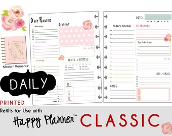 "PRINTED: ""Modern Romance"" DAILY inserts for the CLASSIC Happy Planner 7 x 9.25  Create365 