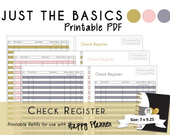 "Happy Planner PRINTABLE Check Register Planner Inserts - PDF - 7 x 9.25 ""Just the Basics"" 