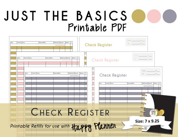 happy planner printable check register planner inserts pdf etsy