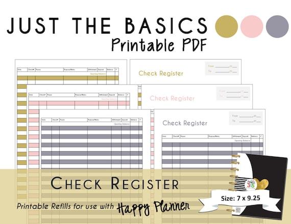 happy planner printable check register planner inserts pdf etsy