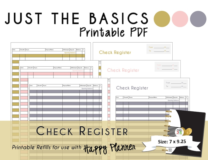 photograph about Printable Check Register Front and Back identify Satisfied Planner PRINTABLE Watch Sign up Planner Inserts - PDF - 7 x 9.25 \