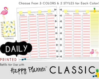 "HAPPY PLANNER Weekly Planner Inserts - Hourly Schedule Layout - Classic 7 x 9.25  mambi | Create365 | me & my Big Ideas ""Flamingo"" [PRINTED]"