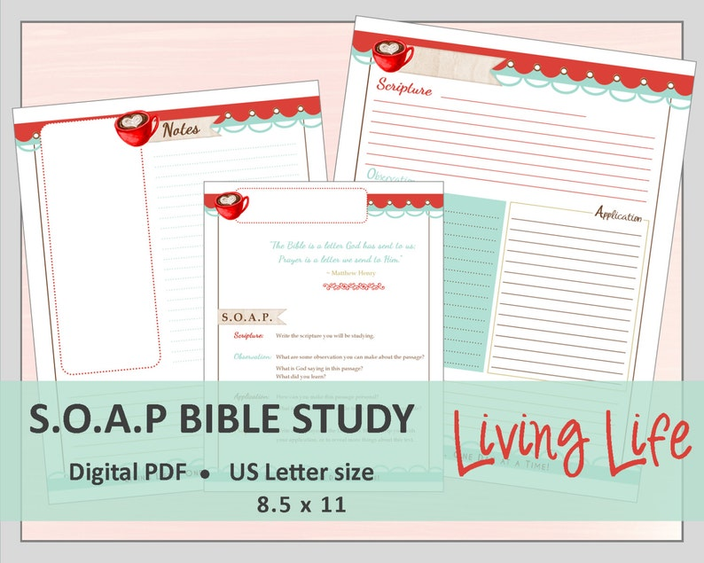 photo regarding Soap Bible Study Printable named US LETTER S.O.A.P. Bible Research Printable Planner Magazine Refills / Inserts - PDF - 8.5 x 11 \
