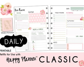 "HAPPY PLANNER Daily Planner Refills Printable - PDF - Classic 7 x 9.25  ""Modern Romance"" mambi 