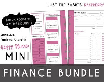 MINI Happy Planner FINANCE Bundle  Check Register, Monthly Budget, Debt Payoff Tracker, Debtor Contacts Passwords Printable PDF Raspberry
