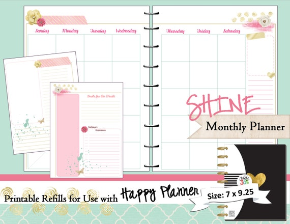 image regarding Happy Planner Printable named Satisfied Planner PRINTABLE Month-to-month Planner Refills / Inserts - PDF 7 x 9.25 Content Planner Crank out 365 Me My Significant Tips mambi
