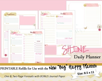 BIG Happy Planner PRINTABLE Daily Calendar Inserts / Refills - PDF 8.5 x 11   Happy Planner | Create 365 | Me & My Big Ideas | mambi