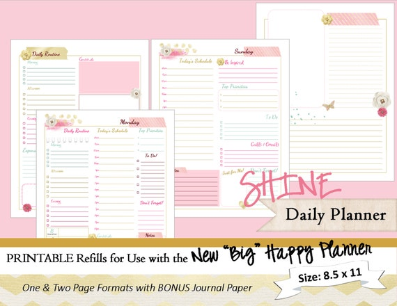 big happy planner printable daily calendar inserts refills