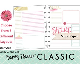 "HAPPY PLANNER Notes/Journal Paper Refills Printable - PDF - Classic 7 x 9.25 mambi | Create365 | me & my Big Ideas ""Shine"""