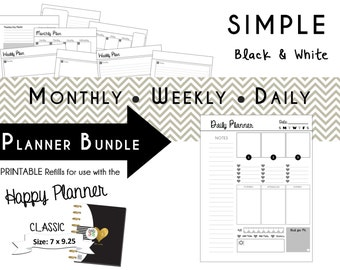 Happy Planner: SIMPLE Black/White Planner Bundle - CLASSIC size 7 x 9.25  mambi | Create365 | me & my Big Ideas Printable PDF
