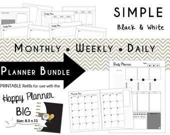 Happy Planner: SIMPLE Black/White Planner Bundle - BIG size 8.5 x 11  mambi | Create365 | me & my Big Ideas Printable PDF