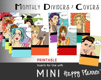 MINI Happy Planner Dividers / Covers [PDF]  Create 365 | mambi | Me & My Big Ideas |   Pop-Art Prints - PRINTABLE - 4.625 x 7