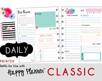 """PRINTED: """"Hello Brights"""" DAILY inserts for the CLASSIC Happy Planner 7 x 9.25  Create365 