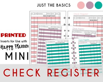 Mini Happy Planner CHECK REGISTERS Just the Basics: Pink - Purple - Teal    Create365 | mambi | Me & My Big Ideas [PRINTED]