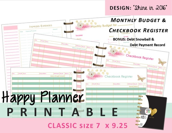 image about Happy Planner Budget Printable identify Satisfied Planner Month to month Spending budget and Checkbook Sign up Inserts - PRINTABLE PDF - Clic 7 x 9.25 Build 365 Me My Large Options mambi