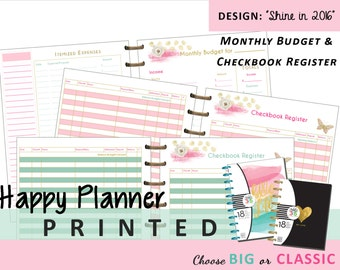 Happy Planner [PRINTED] Monthly Budget and Checkbook Registers Choose CLASSIC 7x9.25 or BIG 8.5x11  Create 365 | Me & My Big Ideas | mambi