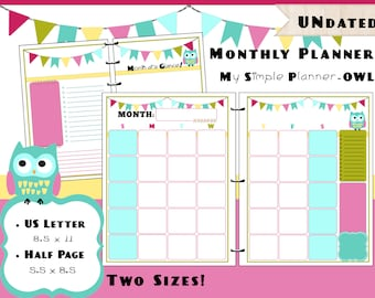 Printable Monthly Calendar Planner PDF Refills - US Letter & Half Page Size - Simple Life Owl