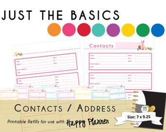 "Happy Planner PRINTABLE Contact / Address Page Refills -  ""Just the Basics""  Create 365 