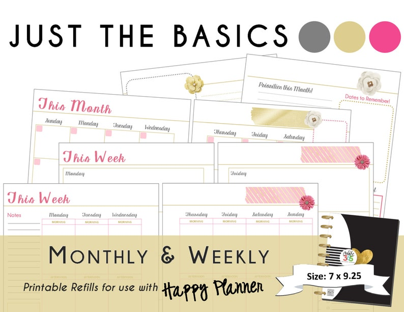 Happy Planner PRINTABLE Monthly / Weekly Planner Refills - PDF 7 x 9 25