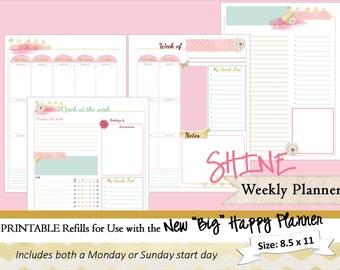 BIG Happy Planner PRINTABLE Weekly Planner Inserts / Refills - PDF 8.5 x 11   Happy Planner   Create 365   Me & My Big Ideas   mambi