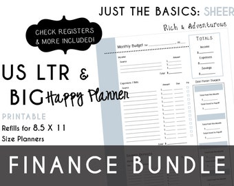 USLTR/BIG Happy Planner Finance Bundle Check Register, Monthly Budget, Debt Payoff Tracker, Debtor Contacts Passwords PDF - Sheer