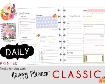 "PRINTED: ""Wildflower"" DAILY inserts for the CLASSIC Happy Planner 7 x 9.25  Create365 