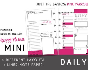 MINI Happy Planner DAILY Insert Printable  Create365 | mambi | Me & My Big Ideas - PDF Just the Basics: Pink Yarrow