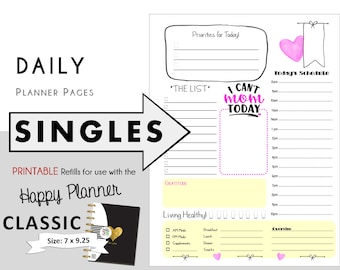 "CLASSIC Happy Planner DAILY Insert Printable Singles  Create365 | mambi | Me & My Big Ideas - PDF ""I Can't Mom Today"""