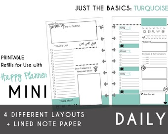 MINI Happy Planner DAILY Insert Printable  Create365 | mambi | Me & My Big Ideas - PDF Just the Basics: Turquoise