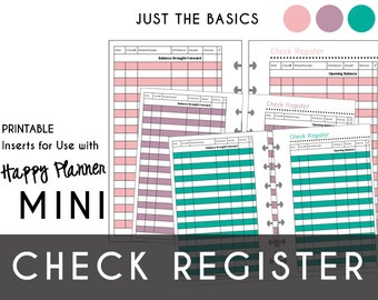 Mini Happy Planner CHECK REGISTERS  Just the Basics: Pink - Purple - Teal    Create365 | mambi | Me & My Big Ideas  Printable PDF
