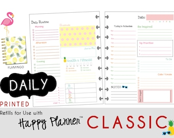 "PRINTED: ""Flamigo"" DAILY inserts for the CLASSIC Happy Planner 7 x 9.25  Create365 