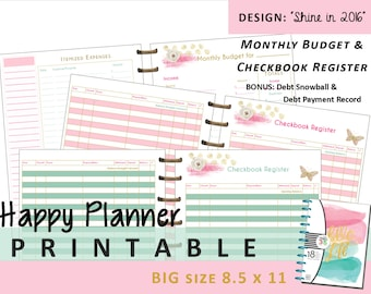 BIG Happy Planner Monthly Budget and Checkbook Register Inserts PRINTABLE - PDF - 8.5 x 11 Letter   Create 365 | Me & My Big Ideas | mambi