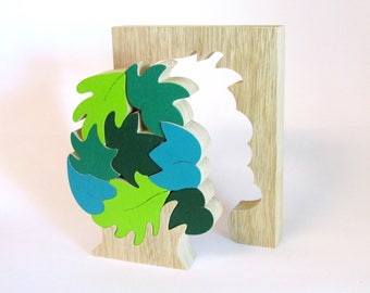 Wood Puzzle, Wood Toy Puzzle, Eco-friendly toy for kids, Kids educational toy, Green leaves
