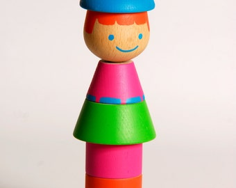First birthday gift, Stacking game, Wooden Stacking Toy for baby and Toddlers, Medium Red-head doll, Wood Toy, Stacking Toy