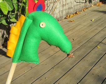 Light green Horse On Stick, Fun Toddler Game, Hobby Horse, imagination kids