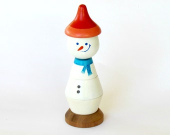 Snowman wood Stacking doll, Wooden Stacking Toy, Christmas gift for baby's and toddlers, Motor skills toy