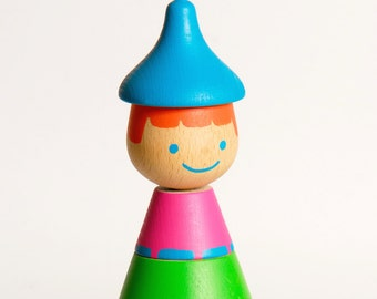 Large Stacking Doll (REDHEAD), Stacking game, Wooden Stacking Toy, Wood Toy, Colorful Wooden Beads