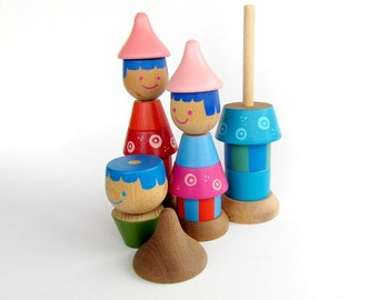 Family Stacking toy , Baby Girl Toy, Wooden doll's,  Colorful Wooden Beads