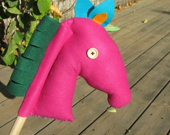 Pink Horse On Stick, Fun Toddler Game, Hobby Horse. Pretend toy