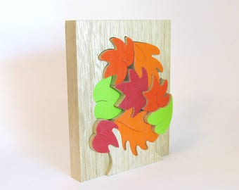 Wood Puzzle, Wood Toy Puzzle, Fall toy, Eco-Friendly Toy , Autumn Leaves Puzzle, Kids Educational Toy, FALL Leaves Puzzle, Fall Seasonal Toy