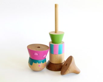 Christmas gift for Baby, Stacking Toy (JULIE) , First birthday gift, Stacking game, Wooden Stacking Toy for baby and Toddlers, Wood Toy